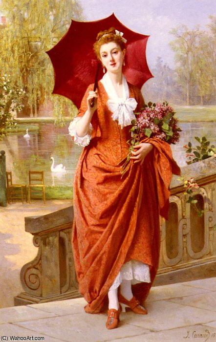 The red parasol by Joseph Caraud (1821-1905, France)