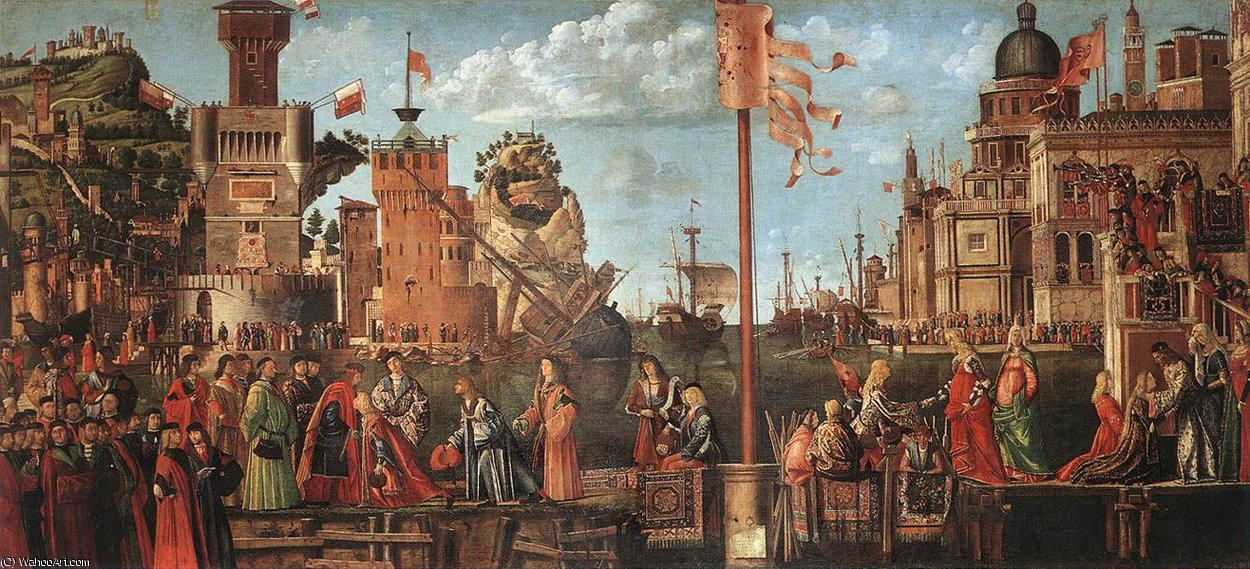 Meeting of the Betrothed Couple and the Departure of the Pil by Vittore Carpaccio (1465-1526, Italy)