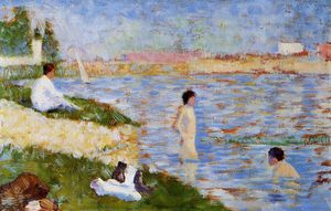 Georges Pierre Seurat - Bathing at Asnieres - Bathers in the Water