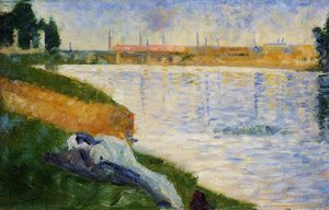 Georges Pierre Seurat - Bathing at Asnieres - Clothing on the Grass