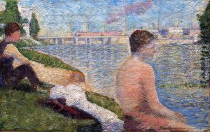 Georges Pierre Seurat - Bathing at Asnieres - Seated Bather