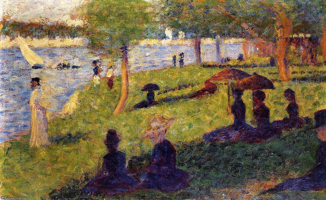 La Grande Jatte - Woman Fishing and Seated Figures by Georges Pierre Seurat (1859-1891, France)
