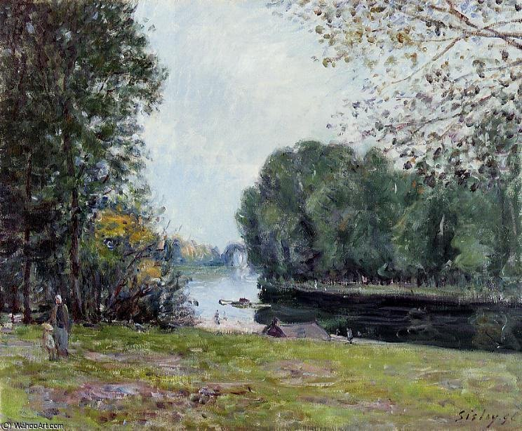 A Bend in the Loing, Sunlight by Alfred Sisley (1839-1899, France)
