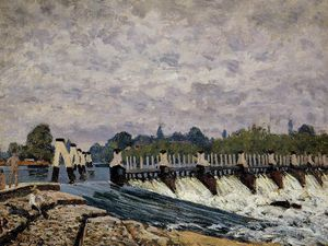 Alfred Sisley - Molesey weir - morning