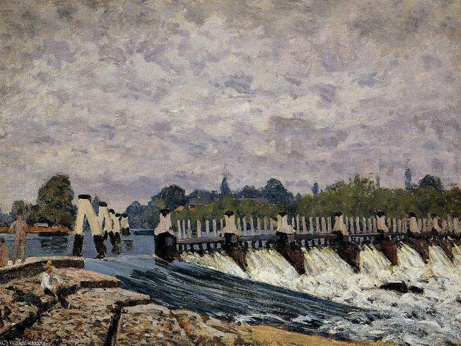 Molesey weir - morning by Alfred Sisley (1839-1899, France) | Art Reproduction | WahooArt.com