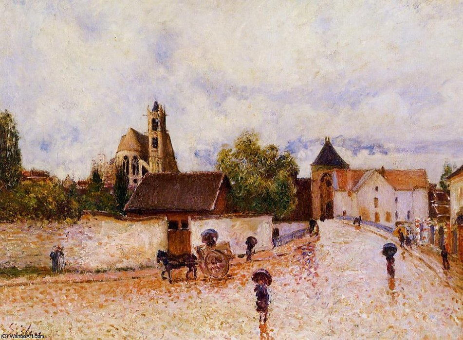 Moret-sur-Loing, Rainy Weather by Alfred Sisley (1839-1899, France)