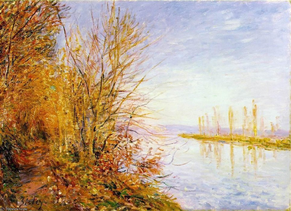 The Chemin de By through, St. Martin`s, Summer by Alfred Sisley (1839-1899, France) | Art Reproduction | WahooArt.com