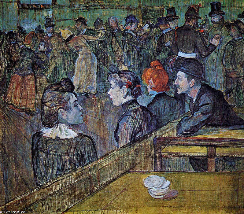 At the Moulin de la Galette Dance Hall by Henri De Toulouse Lautrec (1864-1901, France)