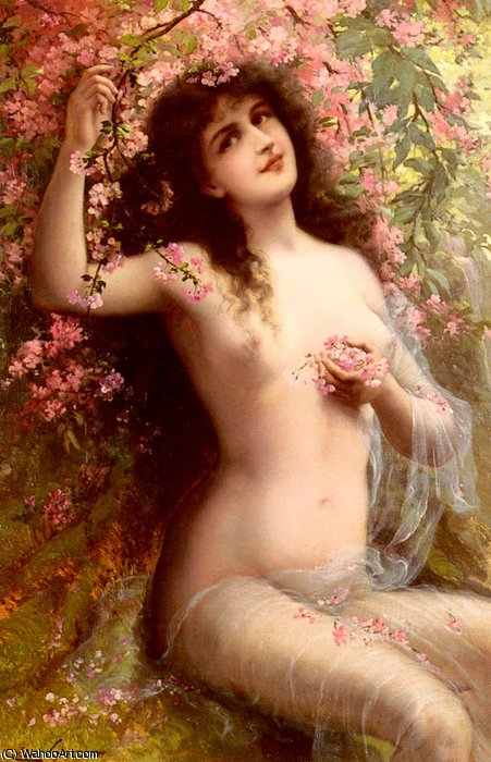Among the blossoms by Emile Vernon (1872-1920, France)