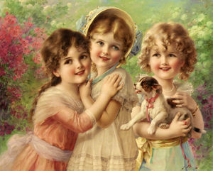 Order Museum Quality Reproductions : Best of Friends by Emile Vernon (1872-1920, France) | WahooArt.com