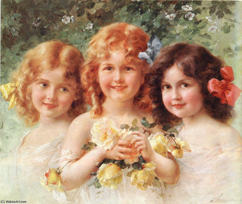 Three sisters by Emile Vernon (1872-1920, France) | Oil Painting | WahooArt.com