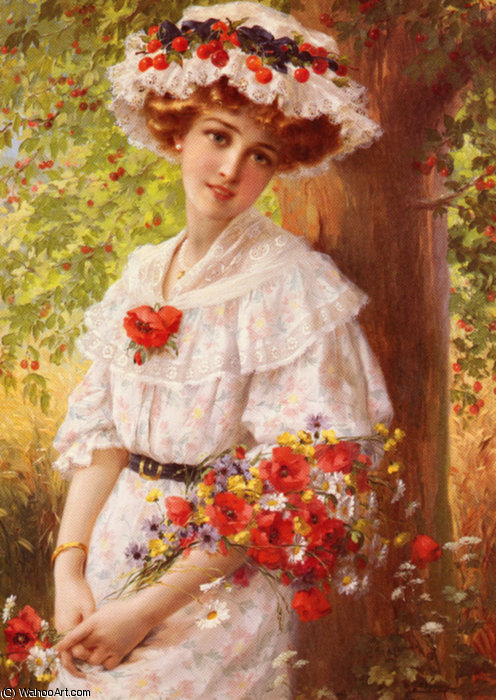 Under the Cherry Tree by Emile Vernon (1872-1920, France) | Famous Paintings Reproductions | WahooArt.com