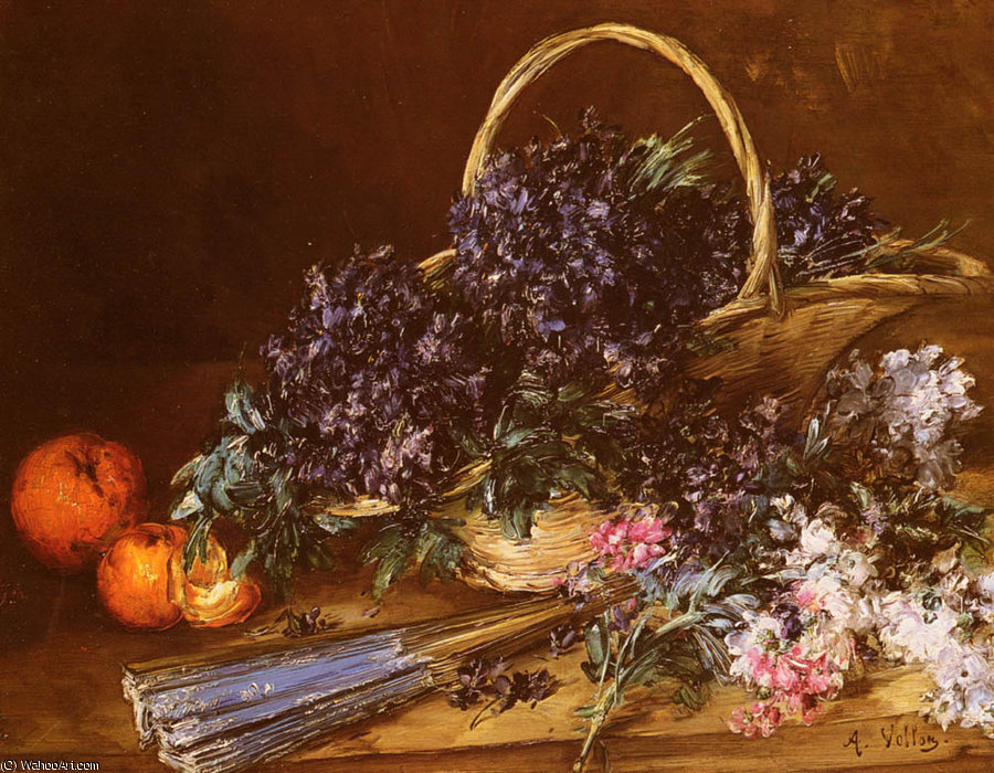 A Still Life with a Basket of Flowers by Antoine Vollon (1833-1900, France)