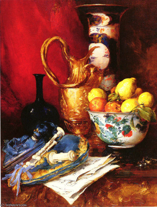 A Still Life with a Bowl of Fruit by Antoine Vollon (1833-1900, France)