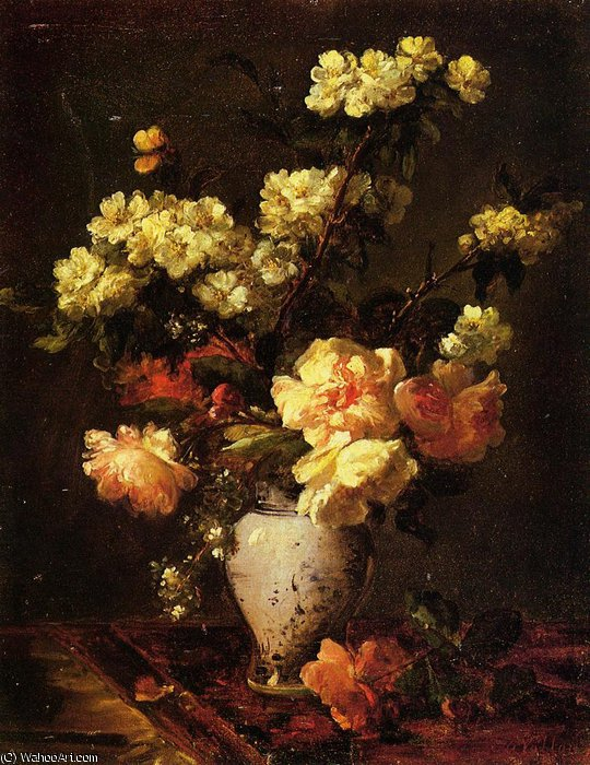 Peonies and Apple Blossoms in a Chinese Vase by Antoine Vollon (1833-1900, France)