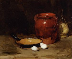 Antoine Vollon - Still Life with a Pen, Jug, Bottle and Eggs on a Table
