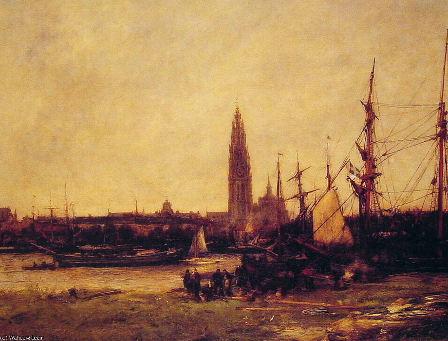 View of Antwerp by Antoine Vollon (1833-1900, France)