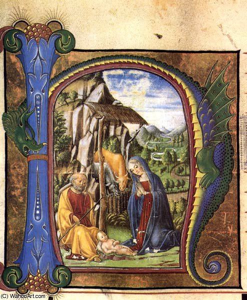 other - Nativity (in an Antiphonary) by Francesco Di Giorgio Martini (1439-1502, Italy) | Museum Quality Reproductions | WahooArt.com