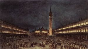 Francesco Lazzaro Guardi - Nighttime Procession in Piazza San Marco