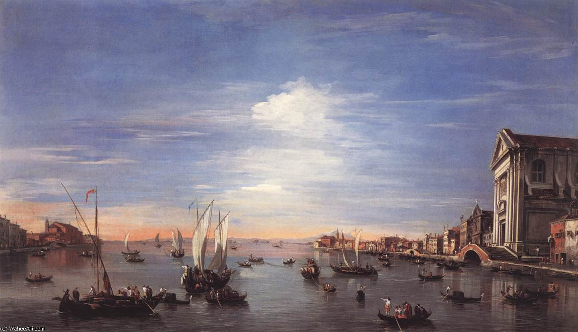 The Giudecca Canal with the Zattere, 1750 by Francesco Lazzaro Guardi (1712-1793, Italy)