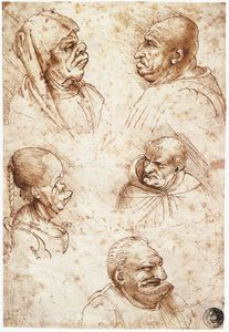 Leonardo Da Vinci - head studies-Five caricature heads