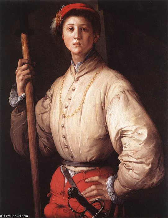 Order Oil Painting : Halberdier, 1520 by Jacopo Carucci (Pontormo) (1494-1557, Italy) | WahooArt.com
