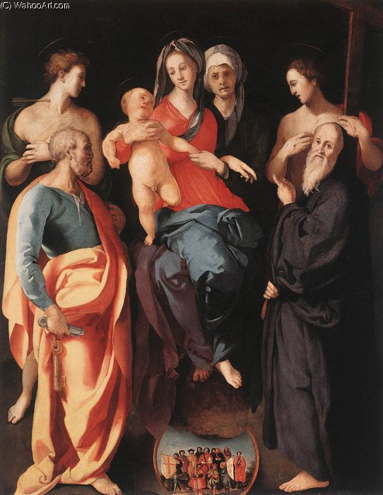 Madonna and Child with St Anne and Other Saints, 1520 by Jacopo Carucci (Pontormo) (1494-1557, Italy) | Famous Paintings Reproductions | WahooArt.com