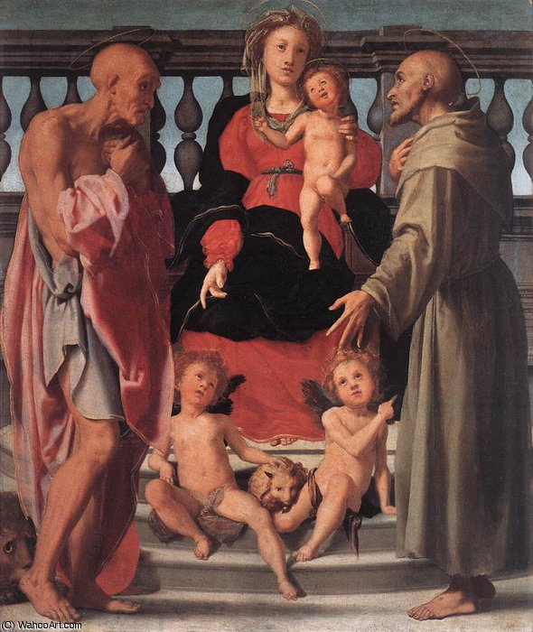 Order Oil Painting : Madonna and Child with Two Saints, 1520 by Jacopo Carucci (Pontormo) (1494-1557, Italy) | WahooArt.com