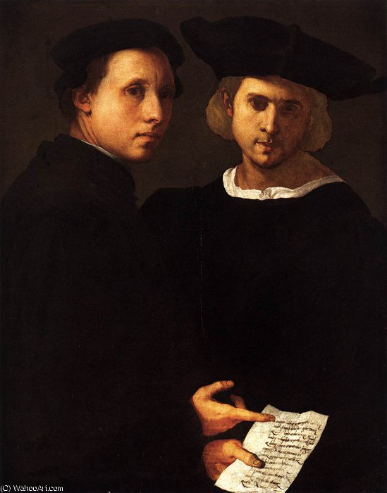 Portrait of Two Friends, 1520 by Jacopo Carucci (Pontormo) (1494-1557, Italy)