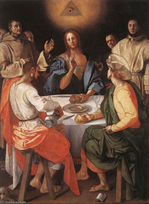Supper at Emmaus, 1520 by Jacopo Carucci (Pontormo) (1494-1557, Italy) | Painting Copy | WahooArt.com