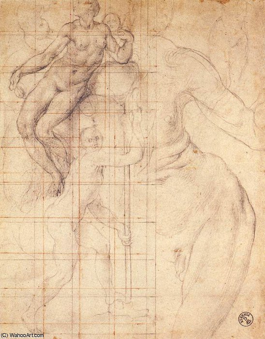 Adam and Eve at Work by Jacopo Carucci (Pontormo) (1494-1557, Italy)