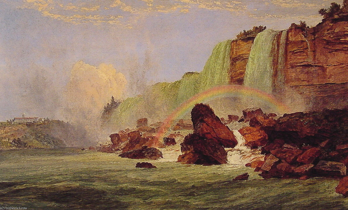 Niagara Falls with a View of Clifton House by Jasper Francis Cropsey (1823-1900, United States) | Painting Copy | WahooArt.com
