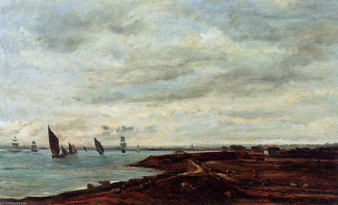 The Banks of the Thames at Eames by Charles François Daubigny (1817-1878, France)