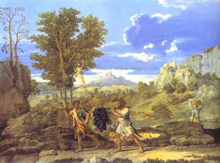Order Art Reproductions | Autumn. The Grapes from the Promised Land by Nicolas Poussin (1594-1665, France) | WahooArt.com