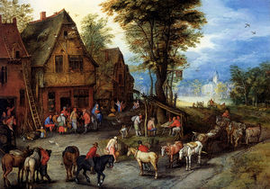 Jan Brueghel The Elder - a village street with the holy family arriving at an inn