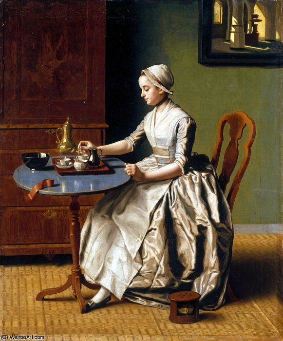 A Lady pouring Chocolate (La Chocolatière) by Jean Étienne Liotard (1702-1789, Switzerland) | Famous Paintings Reproductions | WahooArt.com