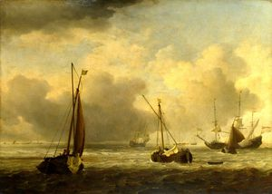 Willem Van De Velde The Younger - Dutch Ships and Small Vessels Offshore in a Breeze