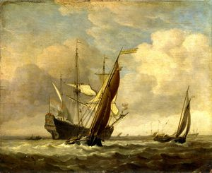 Willem Van De Velde The Younger - Two Small Vessels and a Dutch Man-of-War in a Breeze