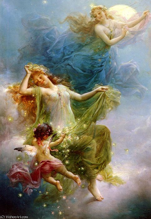 In the night sky by Hans Zatzka (1859-1945, Austria) | Reproductions Hans Zatzka | WahooArt.com