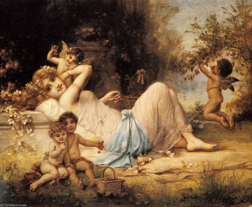 Order Art Reproductions | Venus and her Attendants by Hans Zatzka (1859-1945, Austria) | WahooArt.com
