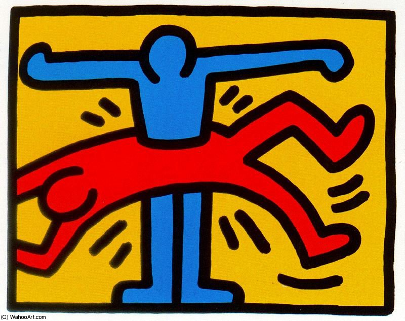 Untitled (496) by Keith Haring (1958-1990, United States) | Famous Paintings Reproductions | WahooArt.com