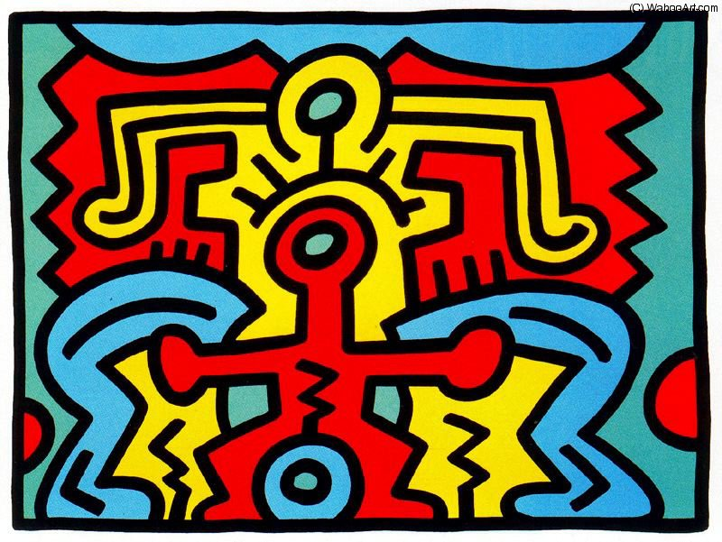 Untitled (750) by Keith Haring (1958-1990, United States) | Famous Paintings Reproductions | WahooArt.com