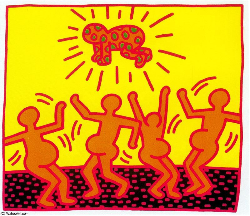 Untitled (701) by Keith Haring (1958-1990, United States) | Oil Painting | WahooArt.com