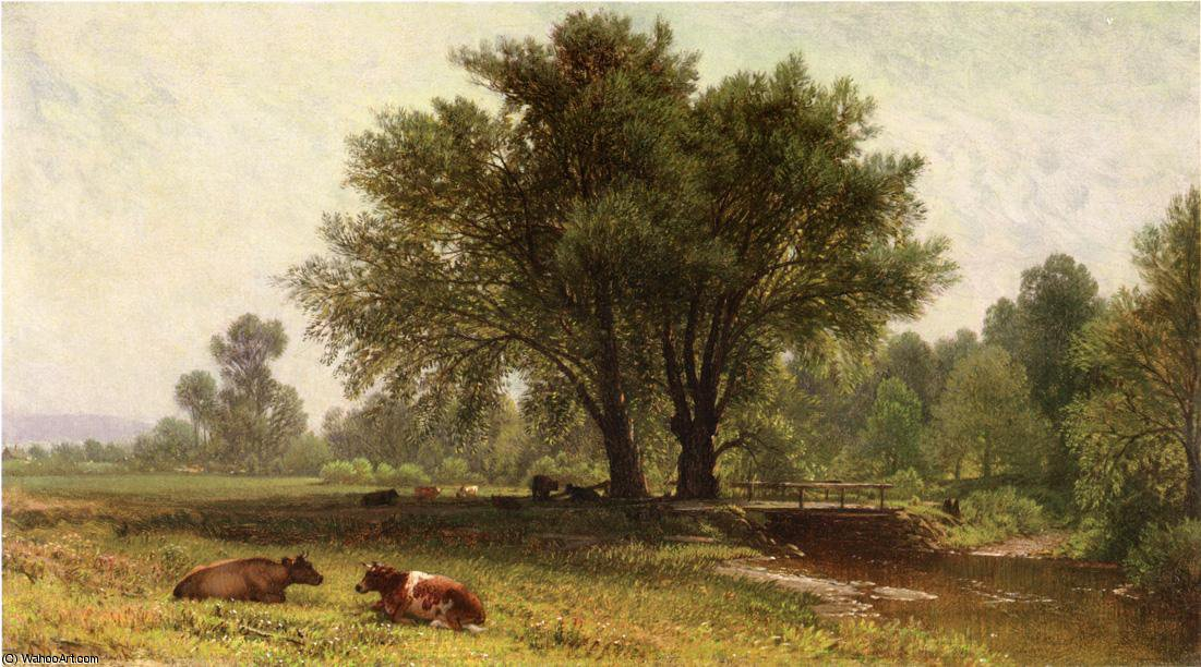 Landscape with Cows by Aaron Draper Shattuck (1832-1928, United Kingdom)