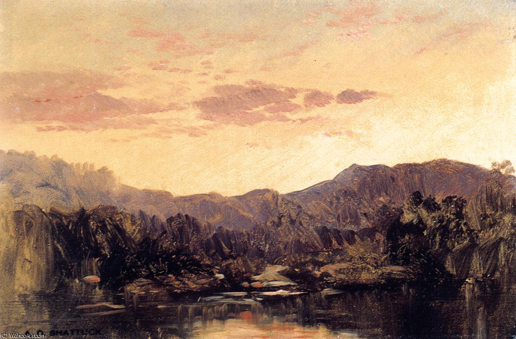 Sunset over Lake George by Aaron Draper Shattuck (1832-1928, United States)