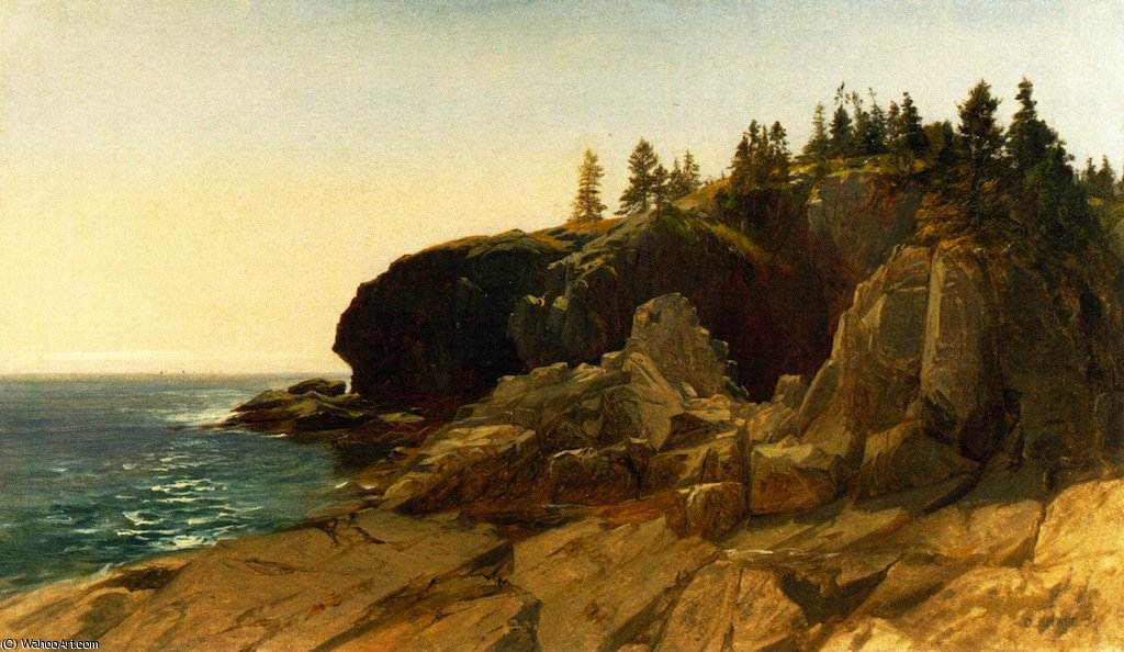 Whitehead cliffs - maine by Aaron Draper Shattuck (1832-1928, United States) | Art Reproduction | WahooArt.com