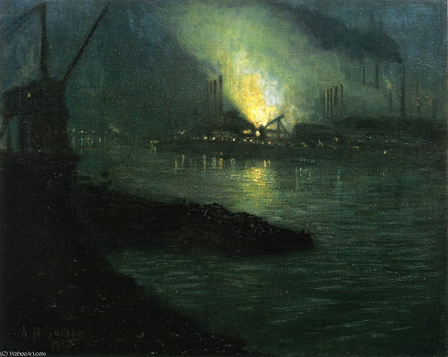 J - L Mills along the Minongahela River by Aaron Harry Gorson (1872-1933, Lithuania)