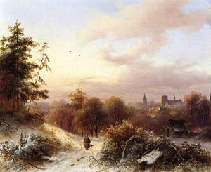 Alexander Joseph Daiwaille - Winter - A Peasant on a Path in a Wooded Landscape - a Town in the Background
