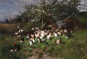Alexandre Defaux - Spring - Chickens under Flowering Apple Trees