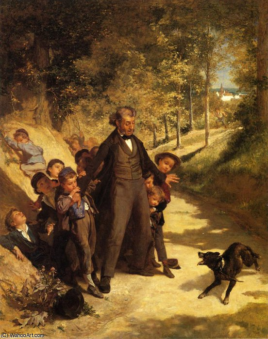 Protecting the Schoolchildren by Andre Henri Dargelas (1828-1906, France)